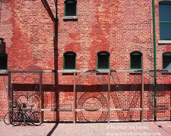Toronto Love - Wall Decor - Fine Art Photography Print - Red, Brick, Rustic, Bicycles, Iron Rack, Distillery District