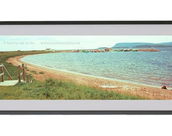 Beach Panoramic Photography - Ocean View - Wall Decor - Fine Art Photography Print - Red Sand, Grassy, Seaside, Beautiful Landscape
