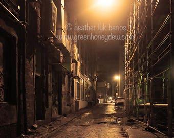 Glasgow Night Photography - Wall Decor - Fine Art Photography Print - Dark Alleyway, Nightime, Scotland, Light