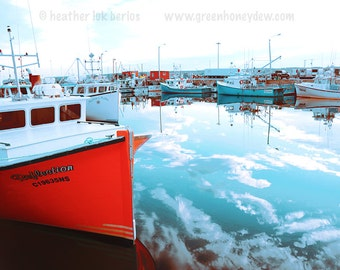 Red Boat Reflection Photography - Wall Decor - Water Marina Harbour Fine Art Print Nautical Romantic Beautiful Canadian