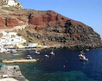 Greece Photography - Amoudi Bay - Santorini - Wall Decor - Mediterranean Fine Art Print