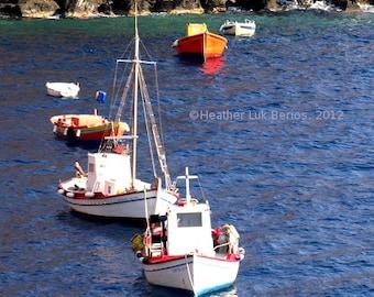 Greece Photography - Boats - Santorini - Wall Decor - Mediterranean Fine Art Print