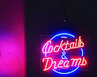 Cocktails & Dreams Neon Florescent Sign Photography - Wall Decor - Photo Art Print - Red, Pink, Blue, Sign, Neon