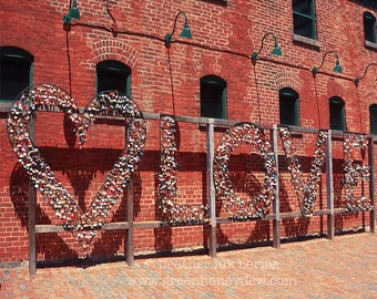 Toronto Love - Wall Decor - Fine Art Photography Print - Red, Brick, Rustic, Iron Locks, Heart Sign, Distillery District