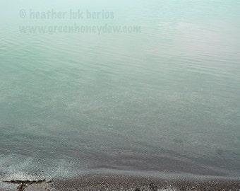 Beach Photography - Tranquility Sand Writing Wall Decor - Fine Art Photography Print, Neutral, Teal, Serene