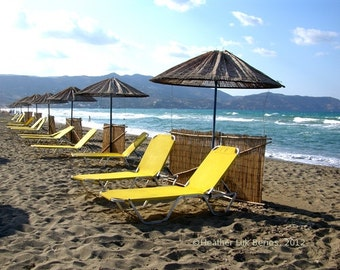Greece Photography - Yellow Beach Chairs - Crete - Wall Decor - Mediterranean Fine Art Print