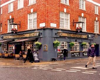 London - English Pub Photography - Wall Decor - Fine Art Photography Print - The Fitzrovia, Bar, Rainy Day, Grey, Red