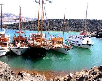 Greece Photography - Boats and Volcano - Santorini - Wall Decor - Mediterranean Fine Art Print