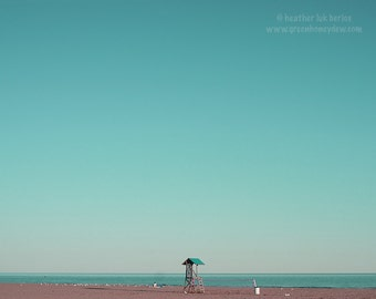 Beach Photography - Lifeguard House - Wall Decor - Canadian Fine Art Photography, Teal, Blue, Water, Nautical