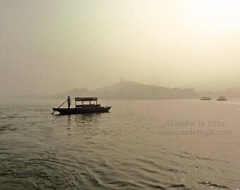 Hanzhou Wooden Boat West Lake Photography - China - Asian Fine Art Photography, Pagoda, Leifang