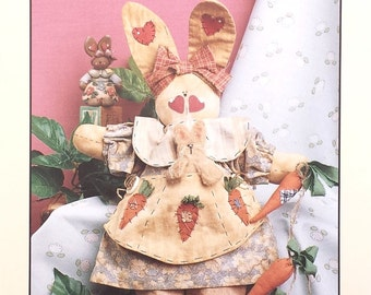 Rabbit doll pattern, Blossom doll pattern, uncut bunny doll pattern, vintage pattern dated 1993, Button Babies pattern