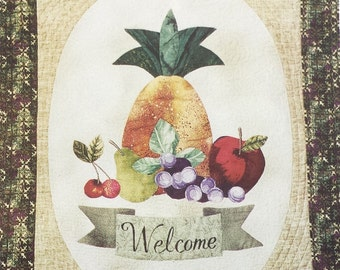Sign of Hospitality uncut fruit applique pattern, pineapple applique wall hanging pattern dated 1998