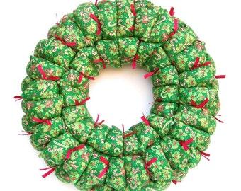 Christmas wreath, holiday wreath, fabric wreath