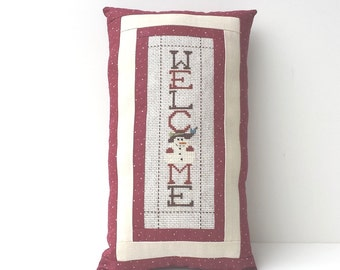 Completed cross stitch rustic, folk, welcome snowman pillow