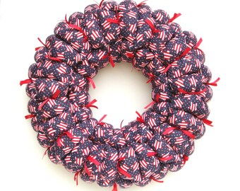 Americana patriotic fabric wreath, red white blue wall / door hanging, military decoration