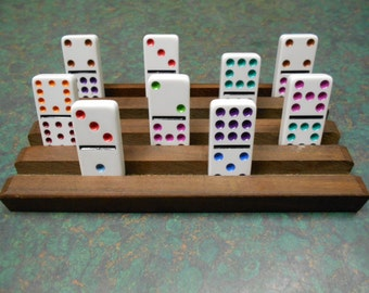 Set of 2 Domino rack / holder set, mexican train wooden rack, slotted wooden domino holder, arthritis assistance holder