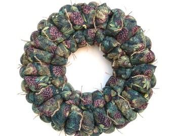 Fabric wreath, rustic wreath, pine cone fabric wreath, wall / door decoration, winter / holiday decor, housewarming gift