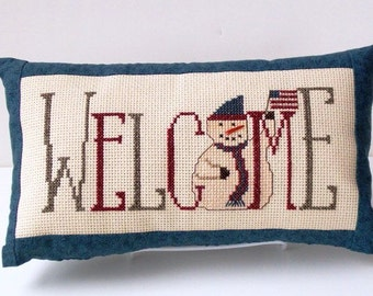 Completed cross stitch pillow, welcome pillow, snowman decoration, patriotic decor, rustic, folk room decor