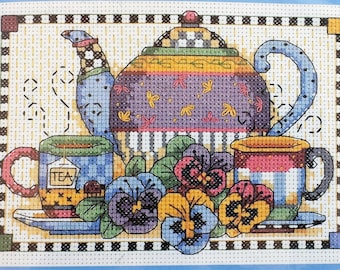 Teatime pansies unopened counted cross stitch kit - Debbie Mumm dated 2001, Dimensions cross stitch kit, DIY cross stitch picture