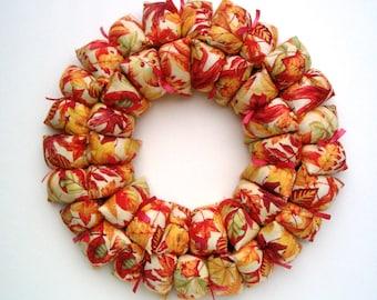 Fall fabric wreath / centerpiece, fall decor, Thanksgiving wall / door / table decoration, home decor