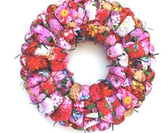 Fabric wreath, floral wreath, spring / summer wreath, door / wall hanging, housewarming / wedding gift
