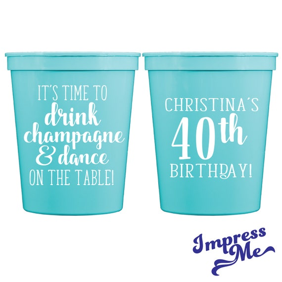 40th Birthday Personalized Cups Custom Birthday Party Favors