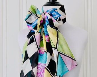 0fdd6bb2e2f Vintage 80s Pastel Floral Checkered Black and White Silk Scarf Pussy Bow  Secretary Scarf