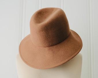 60s 70s Peach Felt Light Brown 100% Wool GEO W Bollman   Co Brim Hat ce691120b851