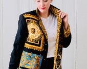 80s Vintage Retro Diane Gilman Faux Versace Print Black Gold Quilted Silk Jacket Medium Size 10