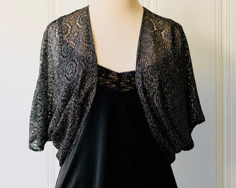 f5e099015c 70s Vintage Disco Nylon Metallic Glitter Crochet Lace Black 20s Style  Batwing Bolero Shrug Jacket Medium Large 6 - 10
