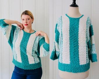 87ff6cd0906 80s Vintage Nan Sport Teal White Bauble Striped Batwing Keyhole Knit Wool  Sweater Medium Size 12