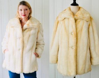 5c68af8b8 60s 70s Vintage Mincara Russel Taylor Cream Tan Beige Ombre Short Faux Fur  Coat Satin Lining Medium 10 - 12