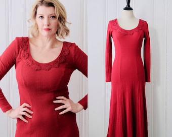 edd55837e6a 80s 90s Vintage Tickets California Rust Red Knit Dress w Crochet Detail  Large Size 8 - 10