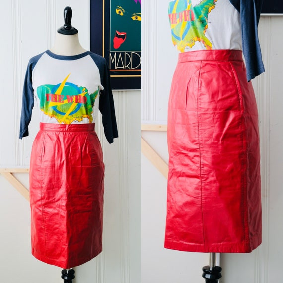 80s Vintage Wilsons Red Leather Pencil Skirt Size