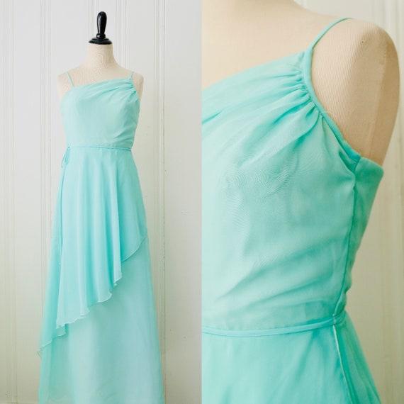 70s Vintage House of Bianchi Seafoam Green Ballerina Style Tiered Dress Medium Size 6-8
