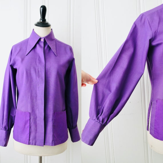 70s Laura Mae Purple Smock Shirt w Dagger Collar P