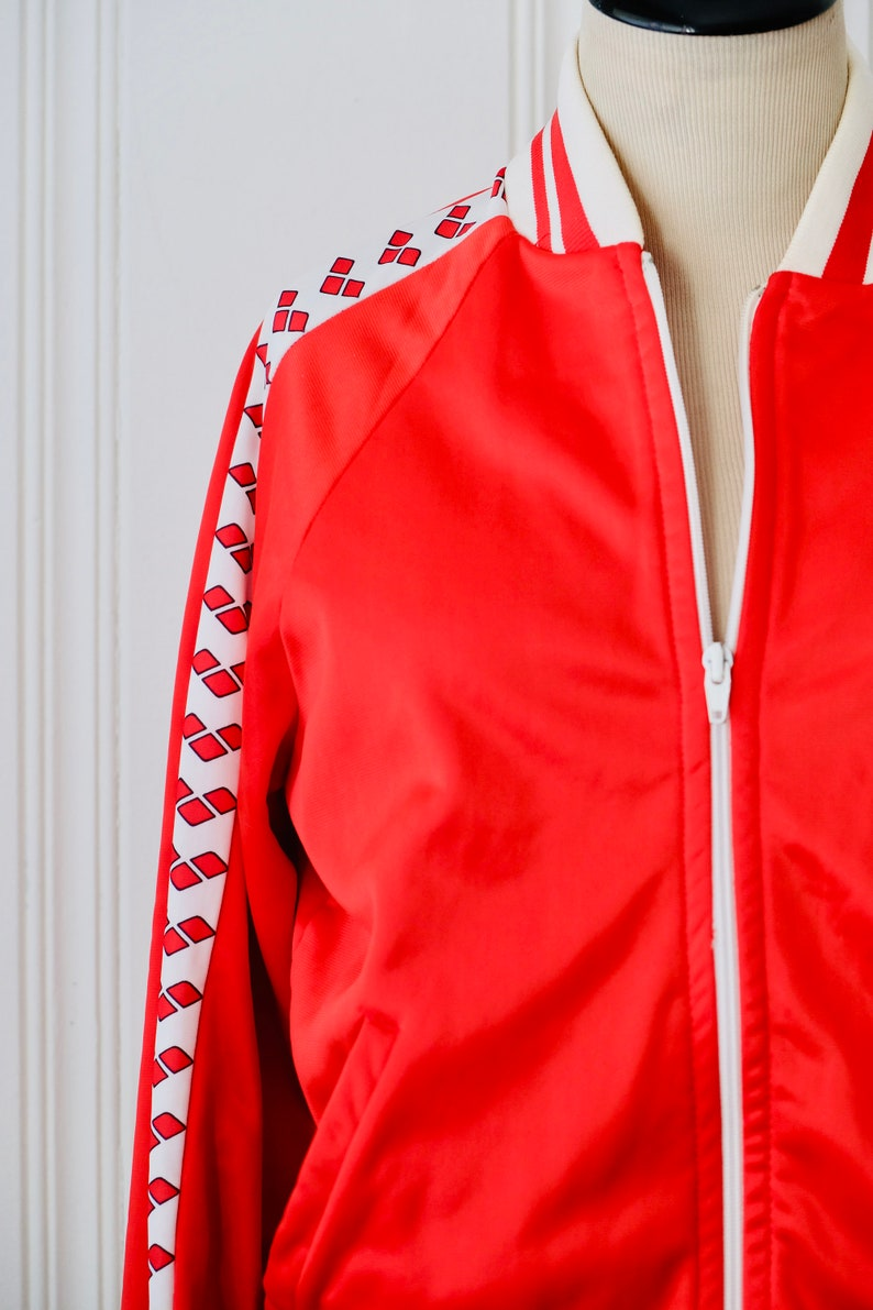 70s Vintage Arena Red White Smoky Hill Track Sport Jacket Size Small