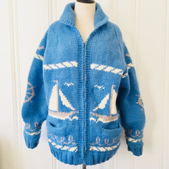Knit Large Medium Cardigan Blue Sailing Handmade Nautical 1960's Mens Sweater Wool Novelty White Vintage UNIQUE Womens 4ZvTqw7