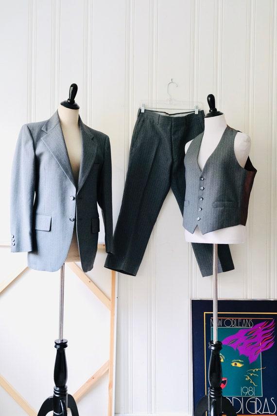 60s Tailored Gray Blue Pinstripe Lightweight Wool