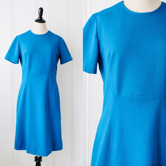 60s Electric Blue Mini Mod Dress Size 16