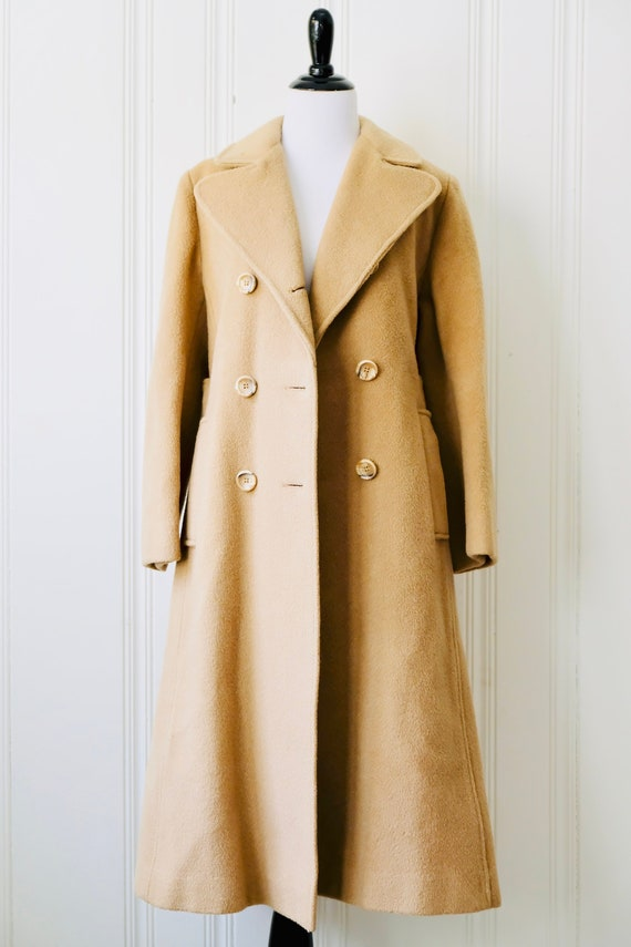 4dad4fea3c 70s Vintage Saks Fifth Ave Tan Camel Pure Wool Slouch Duster Coat Satin  Lining Medium 8