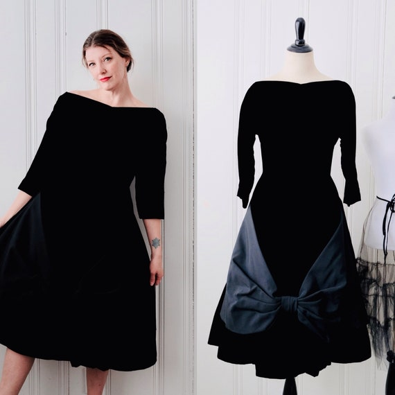 50s Vintage Young Modes by Claudia Young Black Velvet 34 Sleeve Off The Shoulder Fit and Flare Dress w Statement Bow Low Back Medium Size 8