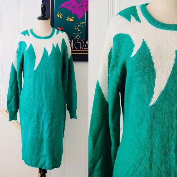 80s Vintage Green White Angora Knit Dress Long Sle