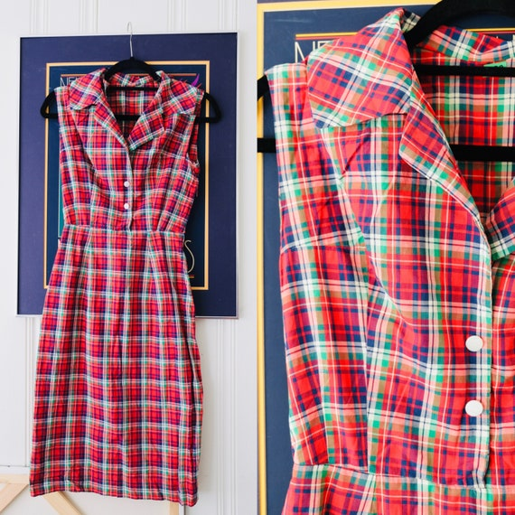 70s Vintage Red Plaid Sleeveless Tailored Shirt Dr