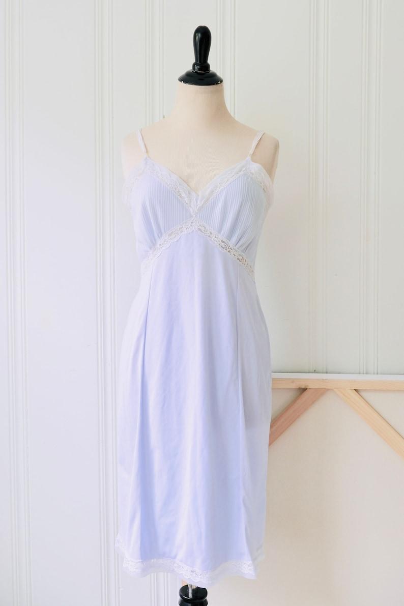 50s Vintage Light Blue Nylon Lace Slip Negligee Night Dress Medium Size 8-10