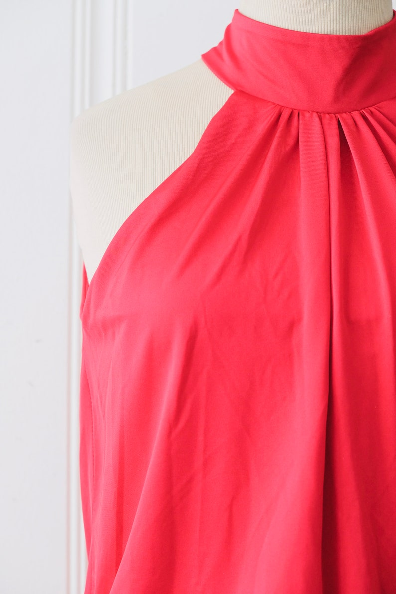 80s Vintage Fredericks of Hollywood Red Halter Sleeveless Keyhole Micro Mini Dress Small
