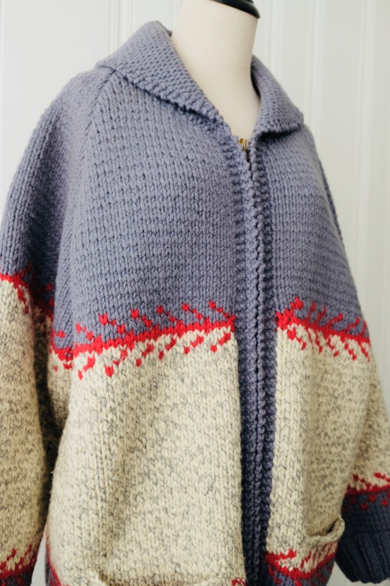 Mens Sweater 1960's Vintage Knit Gray Large Large Wool Handmade Red Extra Cod Grey Womens Cape Cardigan TwqUw1da