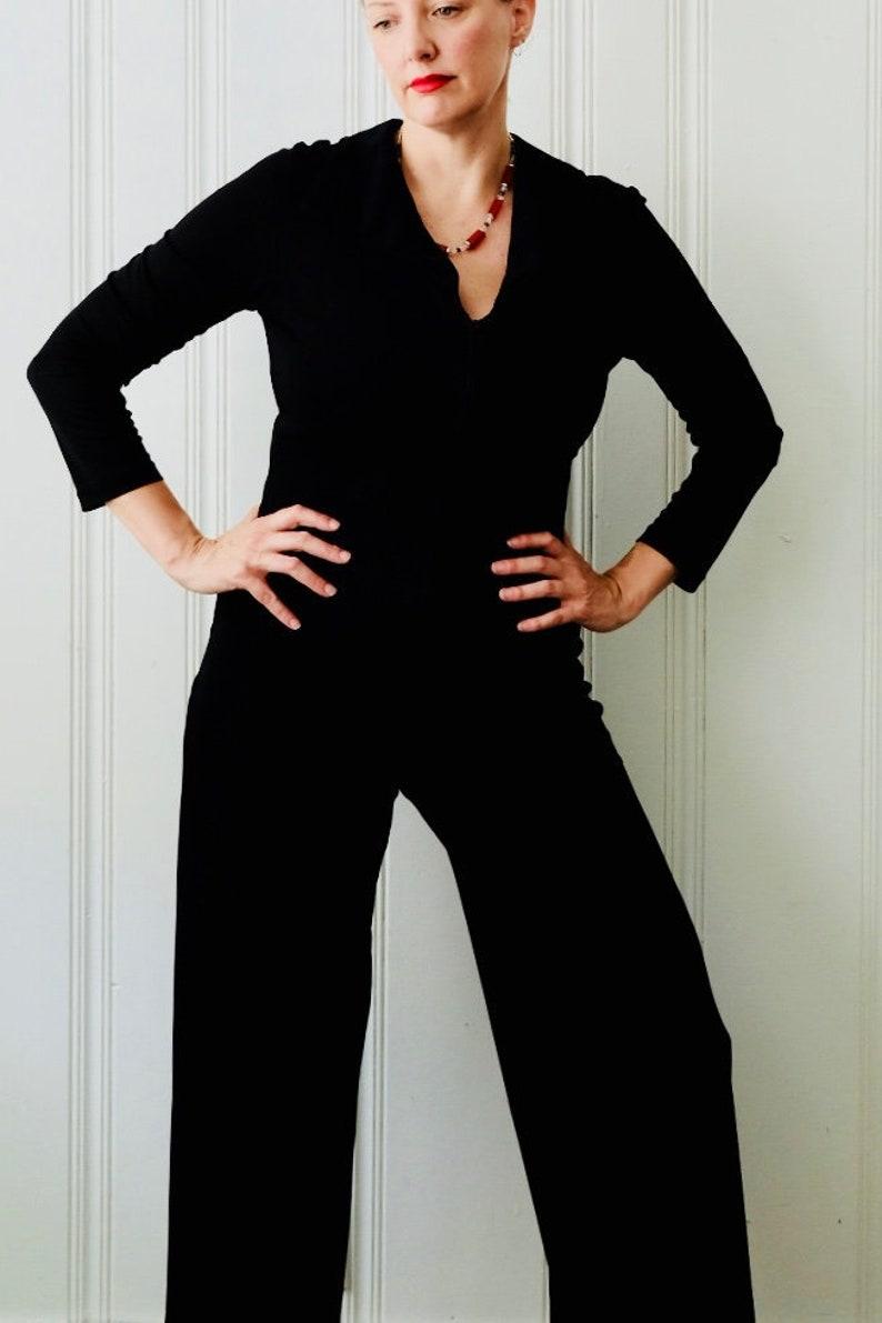 c5089531b92f 70s 80s Vintage Jeff Gallano Paris Black Palazzo Jumpsuit