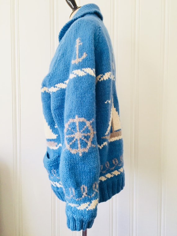 Nautical Large Womens Cardigan Knit Mens White Vintage Novelty Handmade Sailing Wool Sweater UNIQUE 1960's Blue Medium XHqZpp