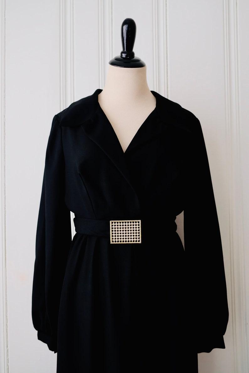 70s Womens Vintage Retro Polyester Black Palazzo Jumpsuit Romper Bishop Sleeve w Gold Diamante Belt Medium 6-10